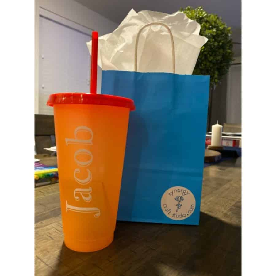 Packaged Custom Personalized Cup with Lid and Straw